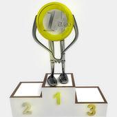 Euro coin robot as winner ceremony illustration — Stock Photo