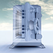 Heavy reinforced blue metallic opened bank vault illustration — Stock Photo