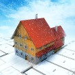 Top view homestead building with layout plan at snowfall - Stock Photo