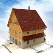 Real estate new building house with layout plan at snowfall — Stock Photo #18281785