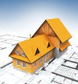 Vista d'uccello homestead edificio con piano di layout e cielo sereno — Foto Stock