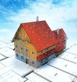 Homestead vista superior del edificio con el plan trazado en nevada — Foto de Stock