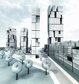 Sviluppo di città metallico del grattacielo in acciaio — Foto Stock