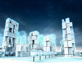 Icy skyscraper city at winter cloudy night light — Stock Photo