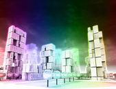 Dimensional skyscraper city as rainbow colored wallpaper — Stock Photo