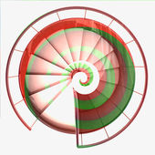 Spiral staircase top view red green swirl — Stock Photo