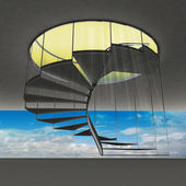 Spiral staircase with yellow flare and blue sky view — Foto de Stock