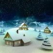 Mountain village enviroment at winter snowfall — Stock Photo