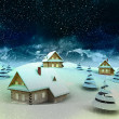 Mountain village enviroment at winter snowfall — Stock Photo #18876447