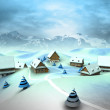 图库照片: Winter village scene with high mountain landscape