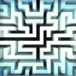 Light blue labyrinth wall structure in top blured view — Stock Photo