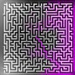 Violet player solution at three dimensional maze top view — Stock Photo