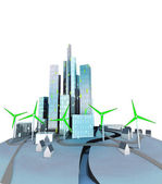 Green windmills generate electricity for ecological city — Stock Photo