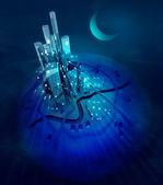 Moon over futuristic modern city lights at night — Stock Photo