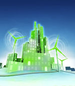 Rotating windmills powered our green ecological cities — Stock Photo
