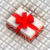 One big gift box over others with flare — Stock Photo
