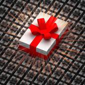 En stor present låda mellan mindre med flare — Stockfoto
