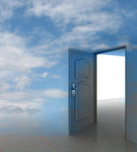 Cloudy sky doorway passage leading to paradise — Stock Photo