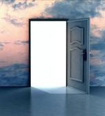 Opened door in sky heaven doorway — Stockfoto