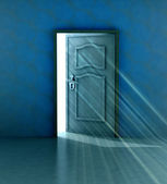 God salvation behind blue wall and opened door — Stock Photo
