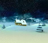 одинокой горной хижине с деревьями на зимний снегопад — Стоковое фото