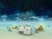 Winter village resort with mountains and snowfall — Stock Photo