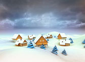 Winter village general view dark sky evening — Stock Photo