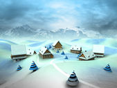 Winter village scene with high mountain landscape — Stock Photo