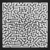 Labyrinth black and white perspective upper view — Stock Photo