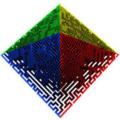 Green blue red yellow colored pyramidal maze structure — Stock Photo