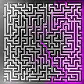 Violett spelare lösning på tre dimensionell labyrint ovanifrån — Stockfoto