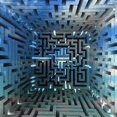 Azul tridimensional labirinto bloco dentro olhar — Foto Stock