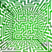 Scatola di tre dimensionale labirinto verde fresco — Foto Stock