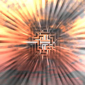 Three dimensional maze explosion with central blur — Stock Photo