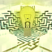 Light shinning bulb above labyrinth — Stock Photo