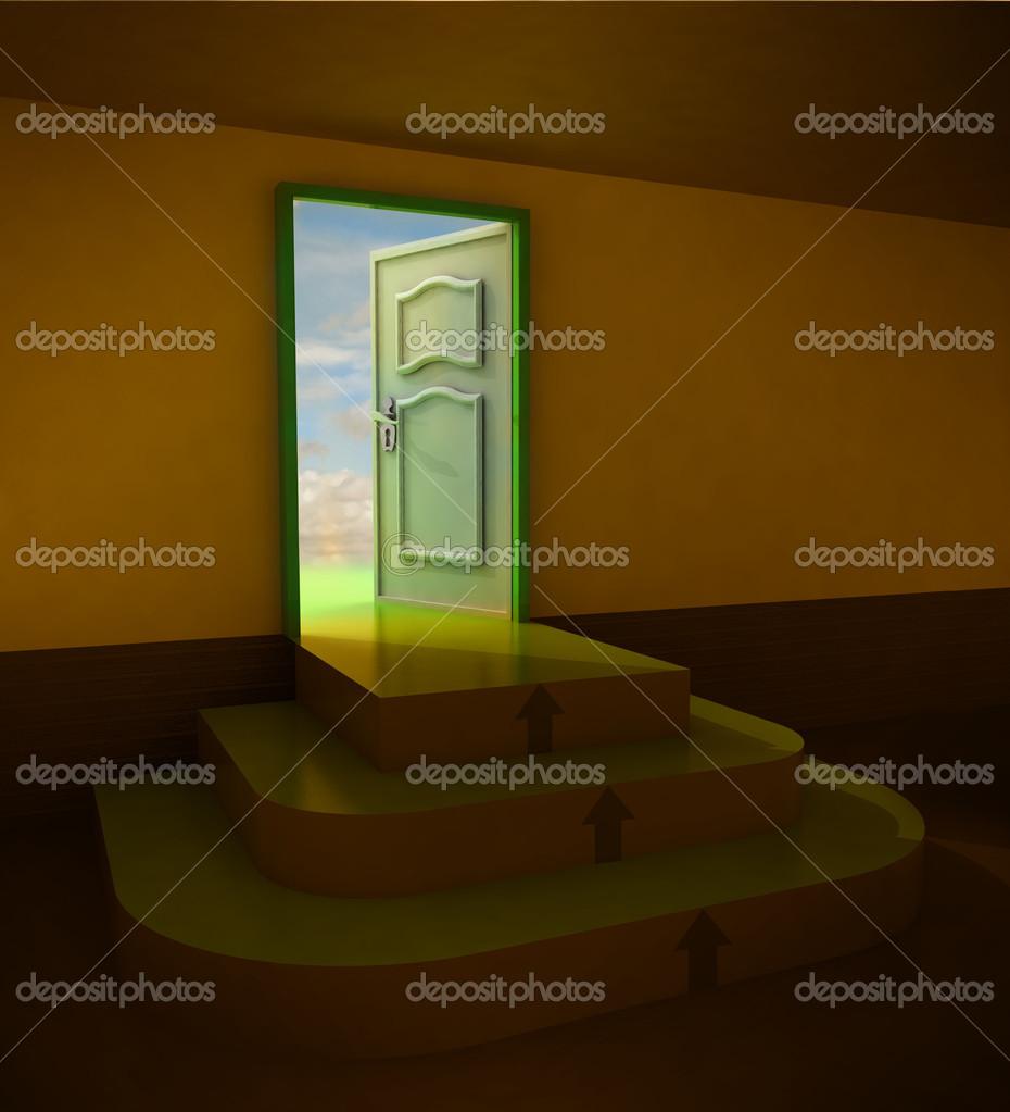 naranja oscuro puerta tres escaleras redondas u foto de stock