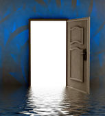 Opened door i water with blue painted wall — Stock Photo