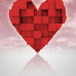 Red romantic dimensional cubic heart with cloudy sky — Foto de Stock
