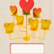 Stock Photo: Easel with golden and red hearts card template