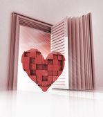 Cubic heart in doorway as open book — Stock Photo