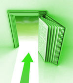 Green frame with open book and arrow — Stock Photo