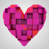 Pink romantic heart cubic composition — Stock Photo