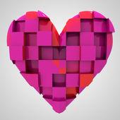Rosa romantiska hjärta kubik sammansättning — Stockfoto