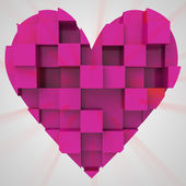 Pink romantic heart cubic concept — Stock Photo