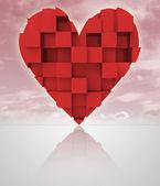 Röd romantiska dimensionell kubik hjärta med mulen himmel — Stockfoto
