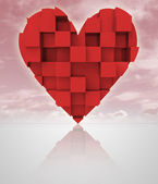 Red romantic dimensional cubic heart with cloudy sky — ストック写真
