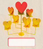 Easel with golden and red hearts card template — Stock Photo