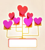 Golden stand with pink red hearts card — Stock Photo