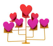 Isolated golden stand with pink red hearts — Stock Photo