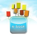 所有人在一个电子书的机架与蓝色图标的计划 — 图库照片